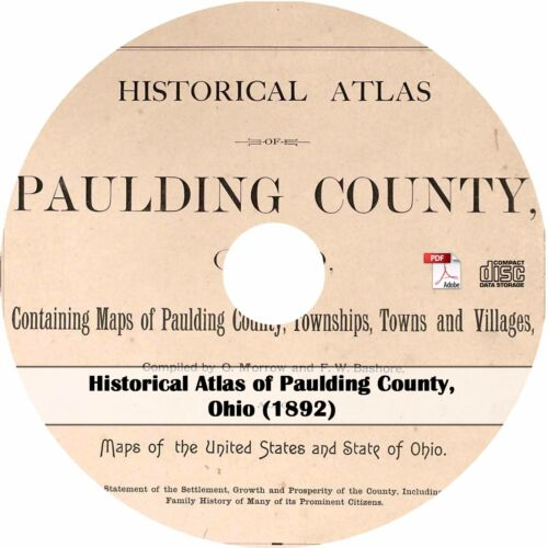 OH History Genealogy Maps Book CD Ohio 1892 Atlas of Paulding County