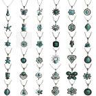 Women Vintage Charm Tibetan Silver Turquoise Bib Crystal Pendant Long Necklace