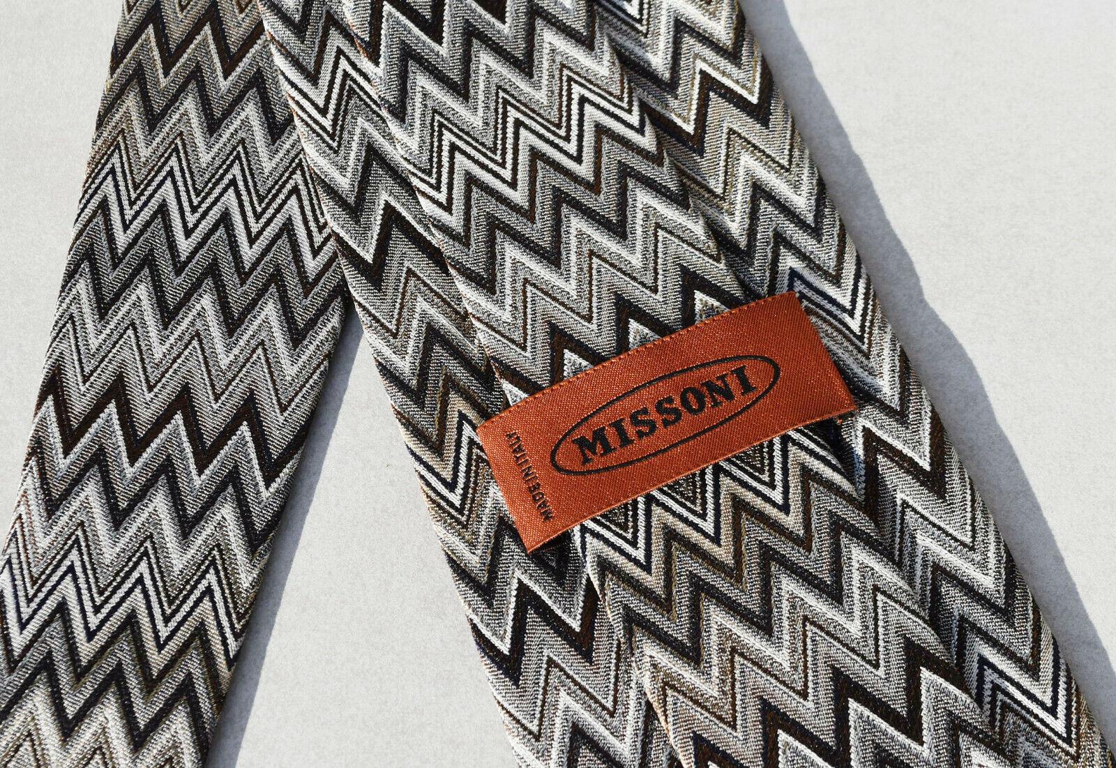 Missoni Necktie Mens Tie Silk Brown Chevron Pattern Brown
