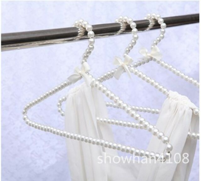 5pcs Beaded Plastic Pearl Bow Clothes Hangers Fashion New Personality White