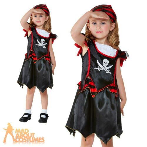 Kids Pirate Costume Girls Skull /& Crossbones Outfit Toddler Book Day Fancy Dress