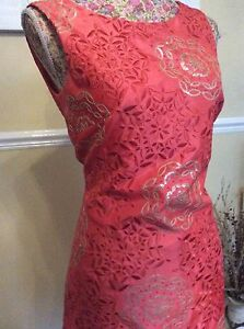 Size 10 Posting Bnwt Knee Party d'artificio Fuochi Hol Wiggle Daily Dress Coral Monsoon w08HqvRn