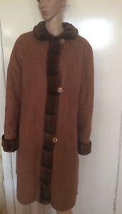 Size Coat Faux Suede loved eur Goldix Collar Pre Fur 14 Brown jacket 44 AfqZpA0dw