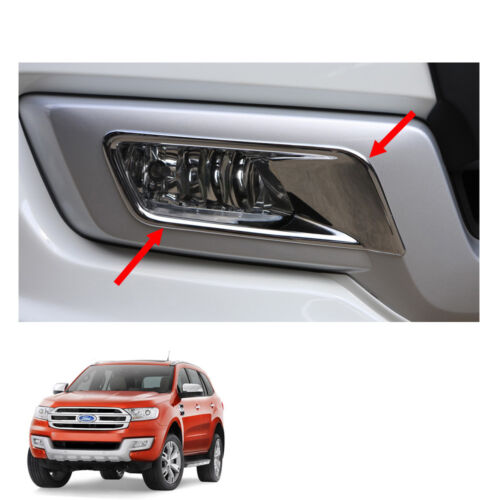 Fog Lamp Light Cover Chrome Trim 2 Pc Fits Ford Everest Endeavour 2015-2017