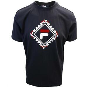 FILA-Men-039-s-Black-Square-S-S-T-Shirt-S03B