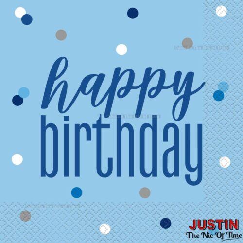 Bleu Happy Birthday Party Vaisselle Fournitures Garçons Hommes Plaques Tasses Serviettes etc