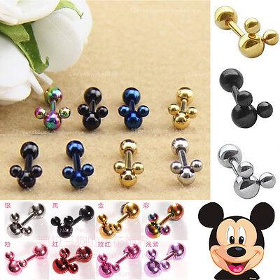 New Cool Disney Mickey Mouse Stainless Steel Ear Stud Men Women Earring