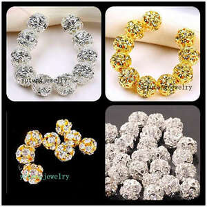 Plated-Gold-Silver-Bayberry-Ball-Grade-A-Rhinestone-Crystal-Spacer-Bead-20Pcs
