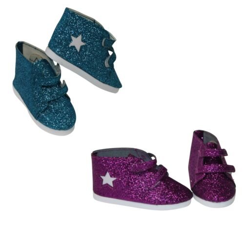 """2 Pair Set All that Glitters Boots Blue /& Purple Fits 18/"""" American Girl Doll"""