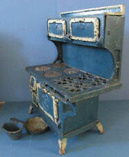 BLUE BIRD ORIGINAL OLD CAST IRON TOY COOK STOVE, W/ FRY PAN & COAL HOD, ON SALE