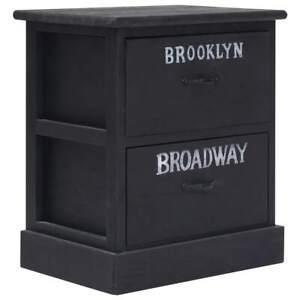 vidaXL-Nightstand-Black-Paulownia-Wood-Bedroom-Bedside-Cabinet-Table-Stand