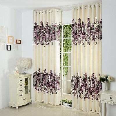 3QMart 2 Panels Luxury Floral Printed Window Curtains Drapes Eyelet Grommet Top