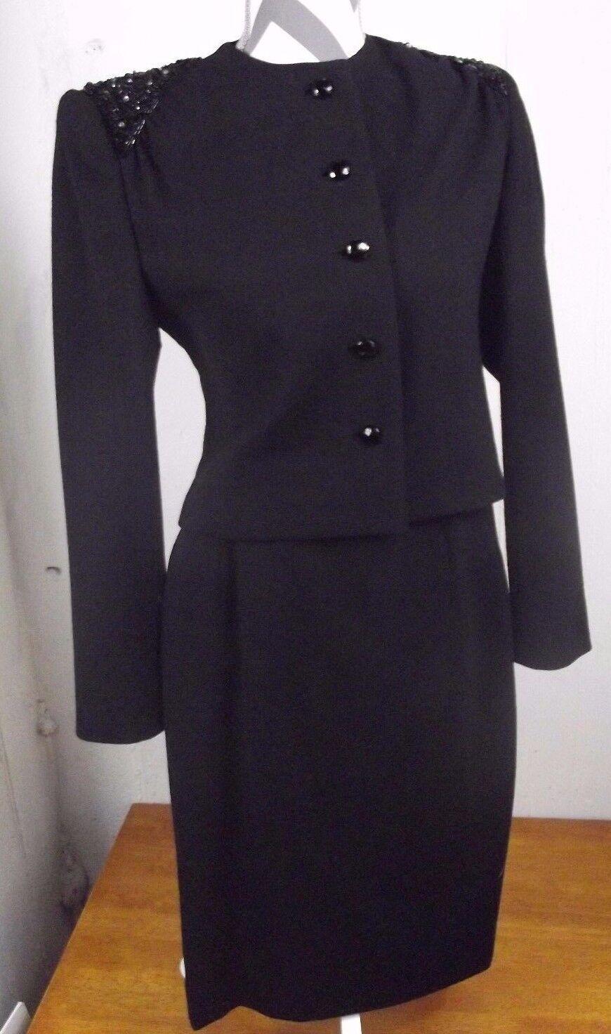Vintage Nipon Couture Femme Sz 8 Noir Drapé Ornée Veste Jupe Costume Set