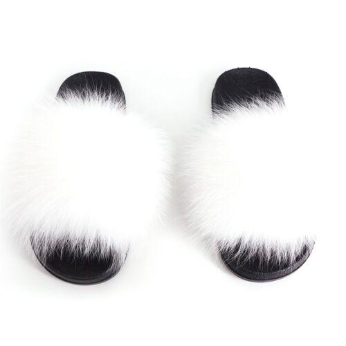 Women/'s Real Plush Fox Hair Fur Slippers Ladies Summer Fluffy Furry Slides Shoes