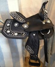 "8"" black Starlight miniature horse Western saddle w'crystals, rowel conchos"