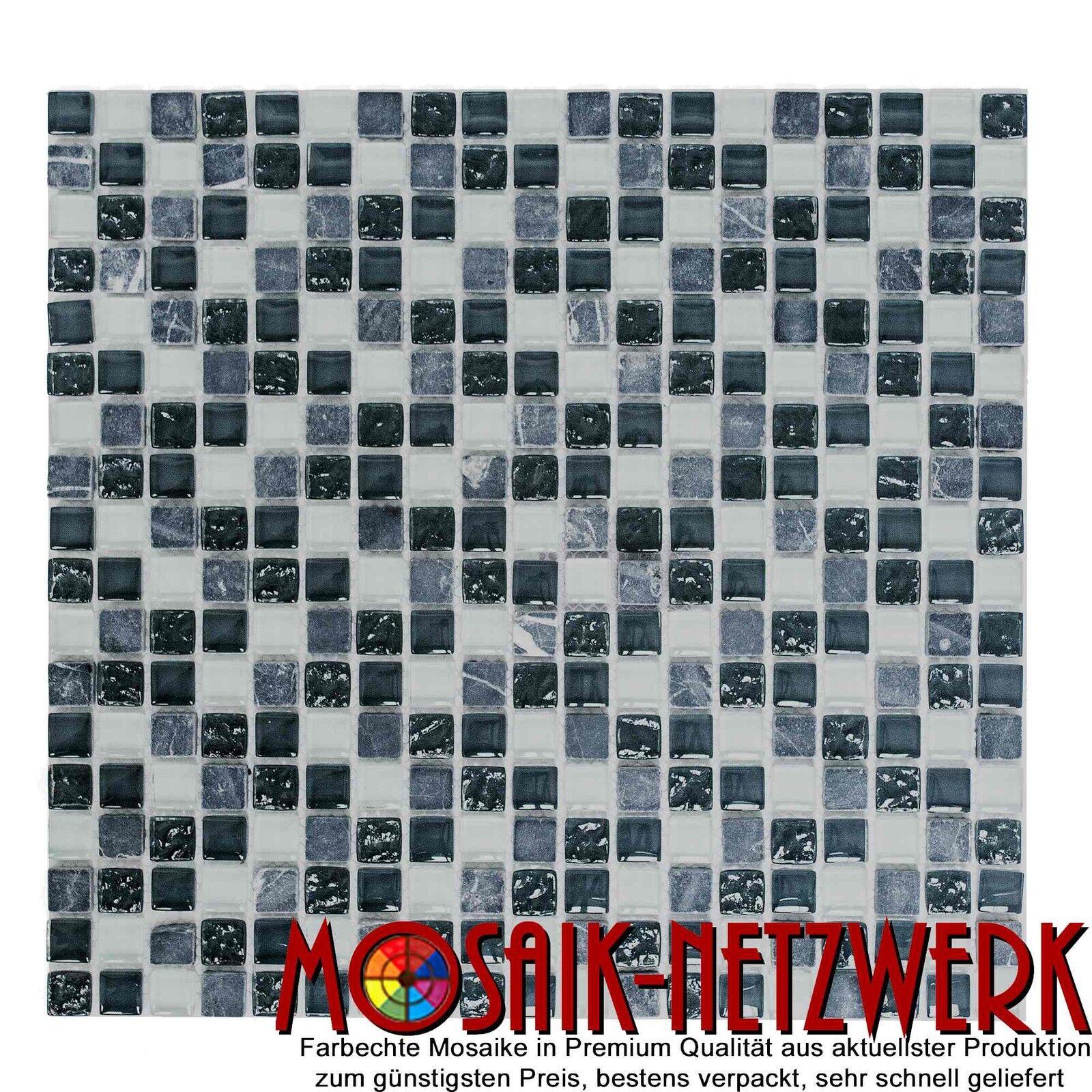 Mosaik Naturstein Bad Glas Quadrat Crystal Stein mix grau Art  92-0204_f   1 qm