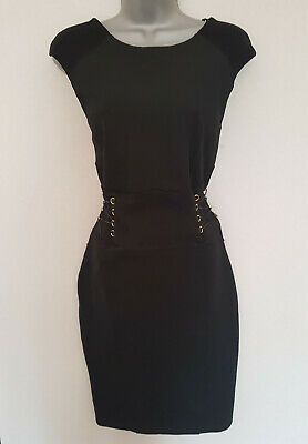 new lipsy black suede panel tie waist corset gold eyelet