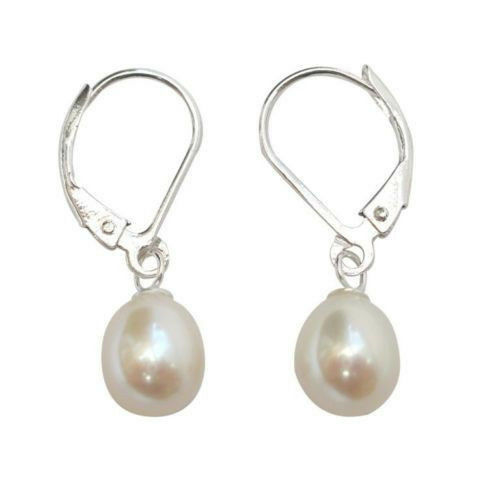 8-9 Mm Blanc Akoya Cultured Pearl Sterling silver leverback Drop Boucle d/'oreille AAA