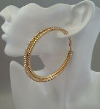 Brand New Big Gold Multicolour Diamante Crystal Large Hoop Earrings Double Row