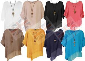 Womens Italian Lagenlook Linen Silk Asymmetric Panel Hem Necklace Top Plus Size