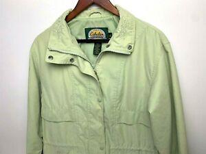 Cabelas-Womens-Green-Hiking-Rain-Fishing-Jacket-Vented-Back-Floral-Collar-Med
