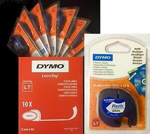 Dymo Letratag Tape 12mm Plastic Black on White BOX of 10 91201 / S0721610 5411313912112