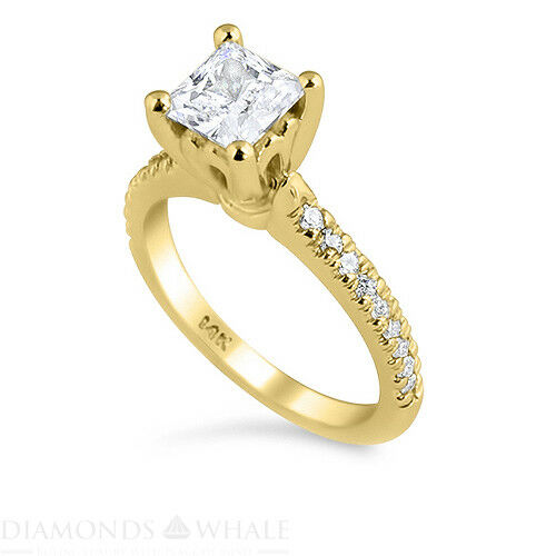 0.7 TCW Solitaire With Accent Princess Diamond Ring SI1 E Engagement Enhanced