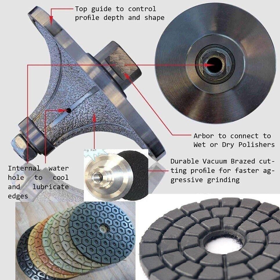 1 1 4  1 1 2  Demi Bullnose Router Bit 5  Polishing Pad 22+1 granite concrete