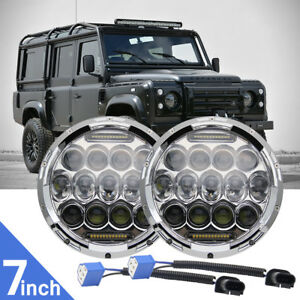 For-Land-Rover-Defender-7-034-LED-headlights-75W-DOT-Approved-Td4-Td5-90-110-CHROME