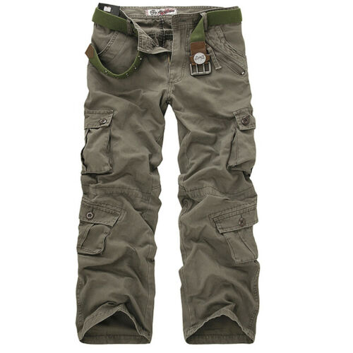 Men/'s Combat Cargo Work Trousers Military Camouflage Multi Pockets Casual Pants
