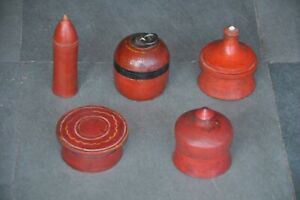 5-Pc-Old-Wooden-Lacquer-Handcrafted-Different-Shape-Powder-Boxes