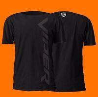 Dodge Viper Vertical Black On Black Design 100% Cotton T-shirt | V10 Srt Mopar