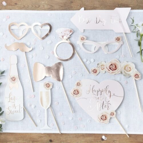 Wedding Photo Booth Props Rose Gold Selfie Props Party Games Accessories - Pk 10