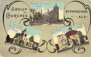BIRMINGHAM-AL-Five-Points-West-End-M-E-Churches-Alabama-Postcard-1929
