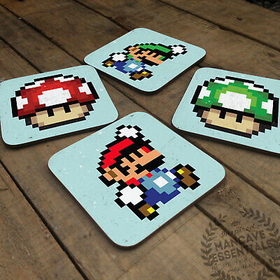 Pixel Mario Collection Glossy Wooden Coaster Retro Drink Table Garage Mancave