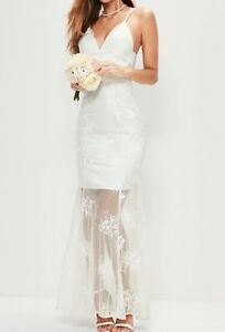 Missguided-Women-039-s-White-Bridal-White-Cold-Shoulder-Lace-Maxi-Cocktail-Dress-12