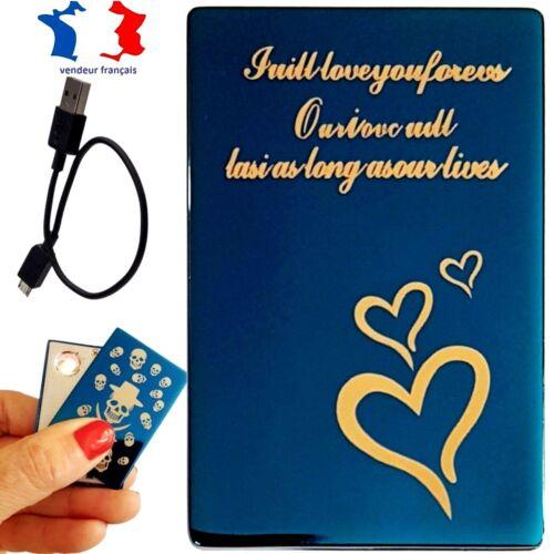 Briquet électronique USB rechargeable par câble USB Cœur