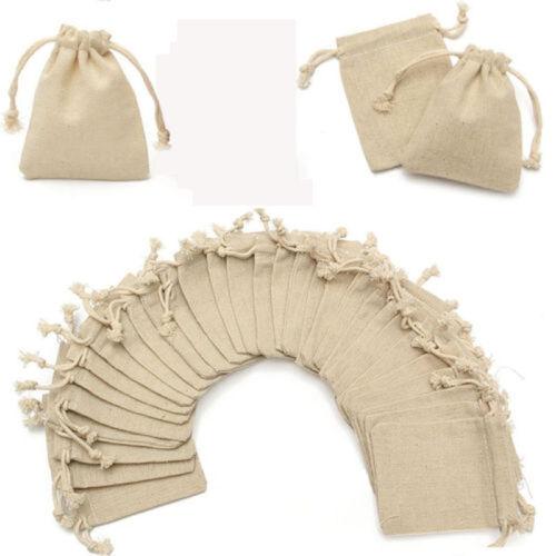 50 Pcs Mini Burlap Natural Linen Jute Sack Drawstring Gift Bags Jewelry Pouch