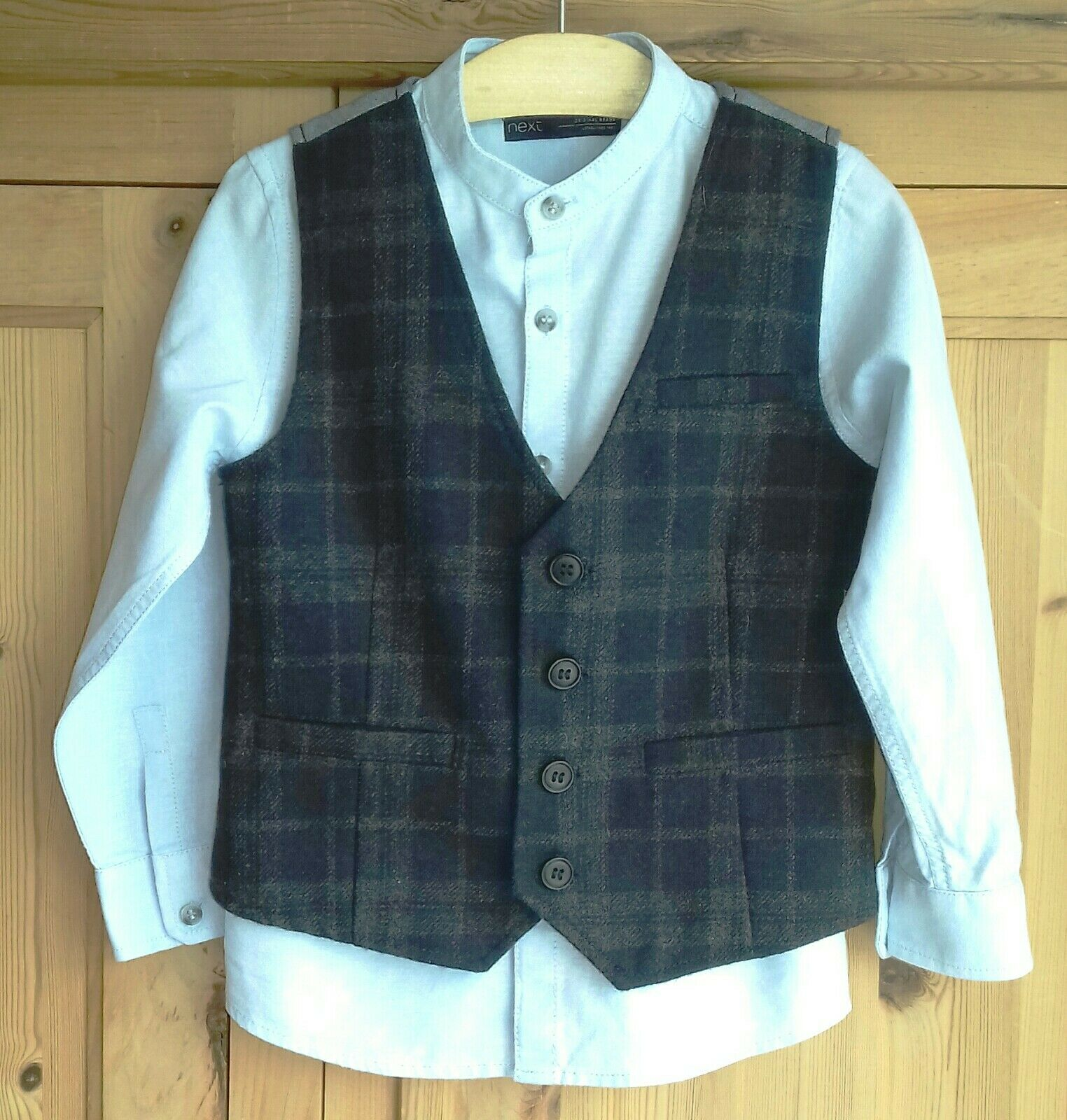 *Smart* NEXT / 3-4yrs Height 104cm/ Tweed Waistcoat and Pale Blue Shirt / VGC