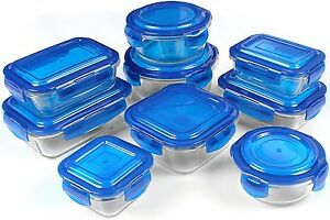Glass Storage Container Set Blue 18 Piece FDA Approved Reusable