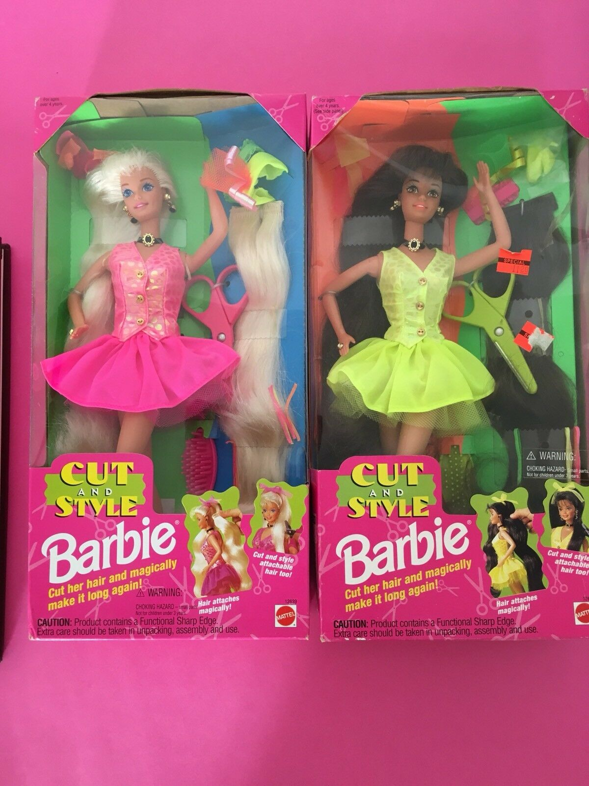 Barbie Cut And Style Blonde And Brunette Lot Of Two Nrfb
