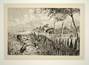 Otto Greiner Etching Fleeing FaunFliehende Faune 1892 Etching Signed in plate