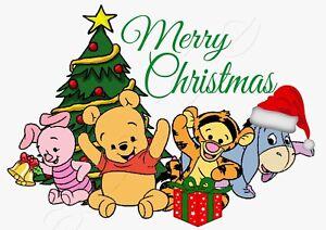 iron on transfer merry christmas winnie the pooh baby tree santa hat