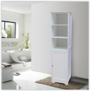 Tall bathroom cabinet white free standing storage unit - White tall bathroom storage unit ...