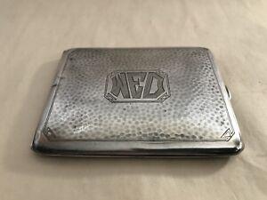 Vintage sterling silver hand hammered business card vesta case gold image is loading vintage sterling silver hand hammered business card vesta colourmoves