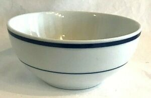 Oneida-Maitre-De-Porcelain-Cereal-Bowl-Blue-Stripes-White