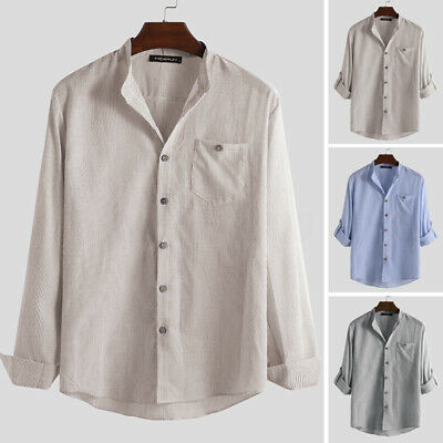 Mens Long Sleeve Silm Fit Striped Grandad Smart Casual Button Down Shirts Blouse