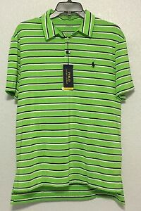 f98697be9a Details about Polo Ralph Lauren Men's Green Striped Performance Lisle Polo  Shirt Sz M L XL 2XL