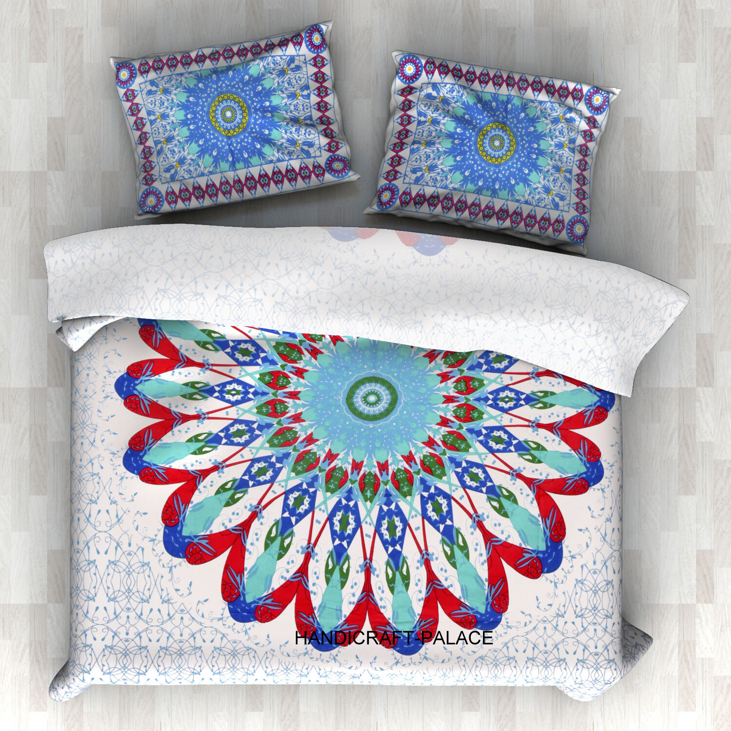 Indian Reversible Mandala Blanket Hippie Duvet Königin Größe Weiß Comforter Set