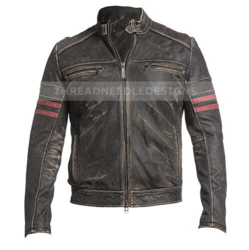 Homme Cafe Racer effet vieilli noir Vintage Moto Motard Rétro Veste en cuir
